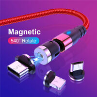 180°+360° 3in1 Magnetic Phone Cable Micro USB Type-C Charger For iPhone Samsung