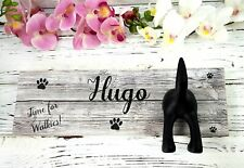 Personalised Printed 32cm Dog Lead Holder Hook Plaque Wall Hanging Wooden Hooks