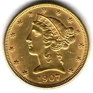 """USA - 5 Dollar 1907 """"D"""" - Halfeagle - Gold 8,35g"""