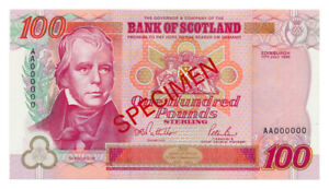 SCOTLAND (BANK OF SCOTLAND) banknote 100 Pounds 1995 Specimen UNC