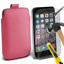 Baby Pink PU Leather Pull Tab Case Pouch & Glass for Apple iPhone 6 Plus