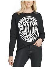 DKNY WOMENS GRAPHIC LOGO GRAY CREWNECK SWEATSHIRT SWEATER SZ XS NWT MSRP $89