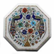 "15"" Marble Table Top Handmade Inlay Semi Precious Stones Art work Porch Decor"