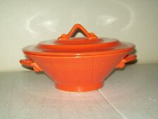 Vintage Harlequin Pottery Covered Casserole Fiestaware radioactive Red ca. 1940