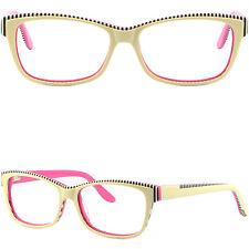 Rectangular Womens Acetate Frames Prescription Glasses Yellow Pink Spring Hinges