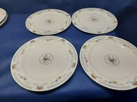 "Vintage Dynasty China ""Melody""Set/4 Dinner Plates Red/Blue Flowers Platinum Trim"