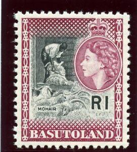 Basutoland 1963 QEII 1r black & light maroon superb MNH. SG 79a.