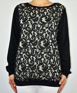 New Wallis Jumper Black Lace Autumn Winter Angora Rabbit Hair Blend Size 16 AJ
