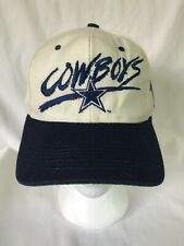 AJD NFL Dallas Cowboys Snapback Hat White Blue Blockhead Spellout Star Cap