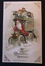 Christmas~ Winsch~ Santa Claus Driving Bus with Children ~Antique Postcard--h570