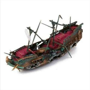 Large Wreck Boat Sunk Ship Destroyer Aquarium Ornament Tank E4V7 Fish Cave H8O7