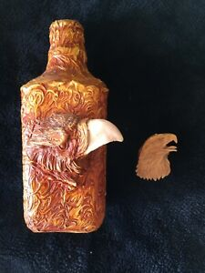 SCULPTED RESIN EAGLE OVER GLASS BOTTLE DECANTER 9'' TALL WITH EAGLE CORK