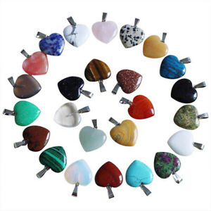 30pcs Natural Quartz Crystal Stone Heart Pendants Charms for jewelry making