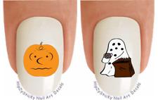 Nail Decals #730H HALLOWEEN Charlie Pumpkin Head Ghost WaterSlide Nail Transfers