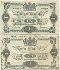 Sweden 1 Krona 1914 VF+/XF, P-32a, with World War related writing, look!