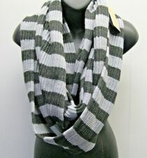 Michael Kors $58 NWT Infinity Knit Striped Scarf Grey Charcoal  Long Wide Warm