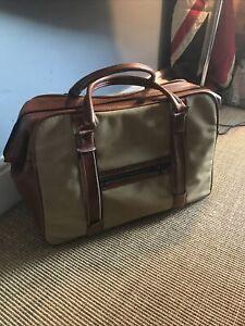 Vintage  Luggage Bag Canvas / Leatherette Zip England