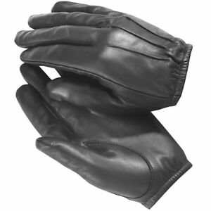 made with Kevlar Black Leather Gloves Security SIA Police Security