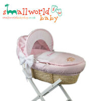Personalised Girls Pink And White Cotton Moses Basket Cover (NEXT DAY DISPATCH)