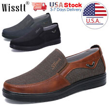 Mens Dress Shoes Slip on Driving Canvas Leather Casual Boots Loafers Moccasins