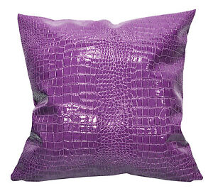 pd1014a Dim Purple Faux Crocodile Glossy Leather Cushion Cover/Pillow Case