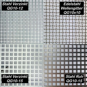 Individuelle Lochbleche QG10-12  QG10-15  Wellengitter  Stahl Edelstahl 2mm dick