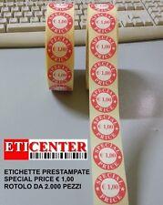 """2000 ETICHETTE ADESIVE 30 CIRCOLARE VELLUM PRESTAMPA """" SPECIAL PRICE € 1,00 """""""