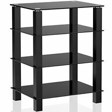 Sturdy Steel Frame 4-Tier Media Component Stand Audio Cabinet with Glass Shelf