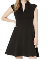 NWT Nanette Lepore Solid Ponte Flare Dress Black Women's Dress Size 4