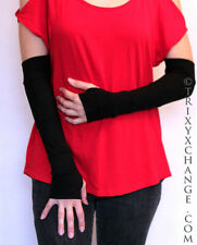 Black Striped Patchwork Cotton Arm Warmers Cycling Yoga Fingerless Gloves 1028