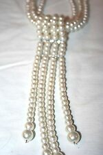 Pearl Look 3 Strand Necklace with Removable Pearl/Rhinestone Pendant