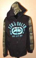 Mens ECKO UNLTD Hoodie Jacket in Solid Black with Camo Thick Grafix $59.50 LARGE