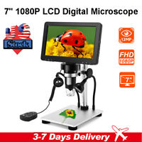 "7"" LCD 1080P Digital Microscope 1-1200X Zoom Video Magnification Amplification"