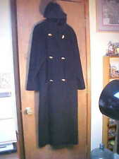 Elegant London Fog Button Front Wool Full Length Black Hooded Coat w/Deep Pocket
