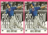 2018 Topps Update Kris Bryant Postseason Preeminence (2) TWO (2) Card Lot Cubs