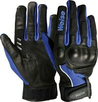 Weise Airflow Plus Black Blue Leather Mesh Sport Motorcycle Gloves RRP £34.99!