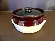 Dark Brown & Tan Bean Pot With Cover (Unmarked)