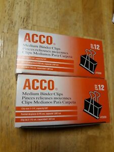 1 Box ACCO Binder Clips 12 Clips//Box Large 72100