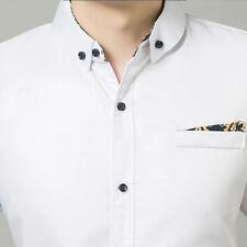 Men's Summer Solid Short-Sleeve Shirt Casual Slim Mens Dress Shirts