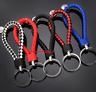 Braided Faux Leather Strap Keyring Keychain Car Key Chain Ring Key Fob