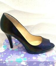 NEW PETER KAISER  *UK 6 * PATENT LEATHER CIMA PEEP TOE COURT HEEL -BLACK PETROL