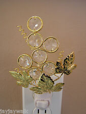 """SWAROVSKI CLEAR CRYSTAL ELEMENTS """"GRAPES"""" NIGHT LIGHT 24KT GOLD PLATED"""