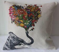 Vintage Elephant Flowers Cotton Linen Throw Pillow Cushion Cover Home Decor Z300