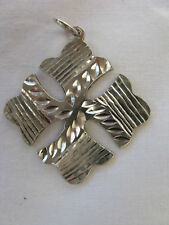 "Egyptian Sterling Silver Cross Coptic Pendant 1.7"" #C13"