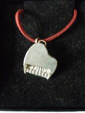 """Piano TG2 English Pewter On 18"""" Red Cord Necklace"""