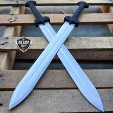 "2 PC 24"" GLADIATOR GREEK Roman SILVER SWORD MACHETE Gladius Medieval w/ SHEATH"