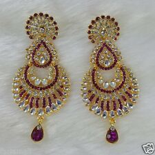 Gold Plated Kundan Style Zerconic Bollywood Earrings Designer Jhumka Style