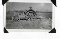 old picture OLD TRACTOR steel wheels PULLING OLD EQUIPMENT farmer driving