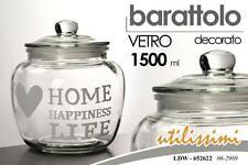 BARATTOLO VETRO TRASPARENTE DECORATO C/COPERCHIO HOME HAPPINESS LIFE 1500 ML