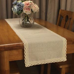CURCYA Original Beige Linen Lace Table Runners Vintage Wedding Table Decoration